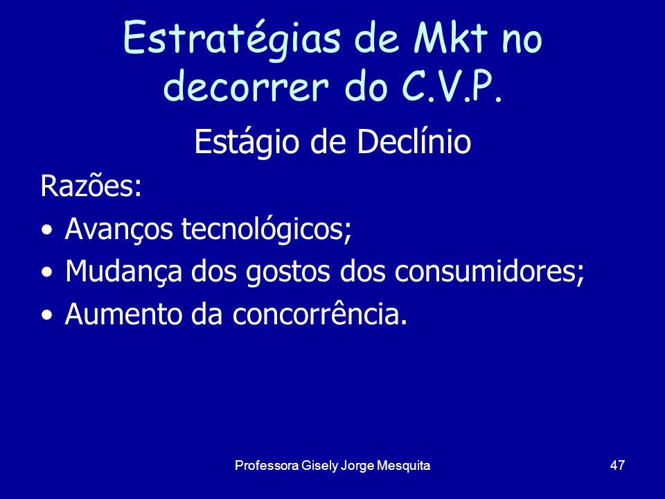Estratégias de Mkt no decorrer do C.V.P. Estágio de Declínio Razões: Avanços tecnológicos; Mudança dos gostos dos consumidores; Aumento da concorrênci