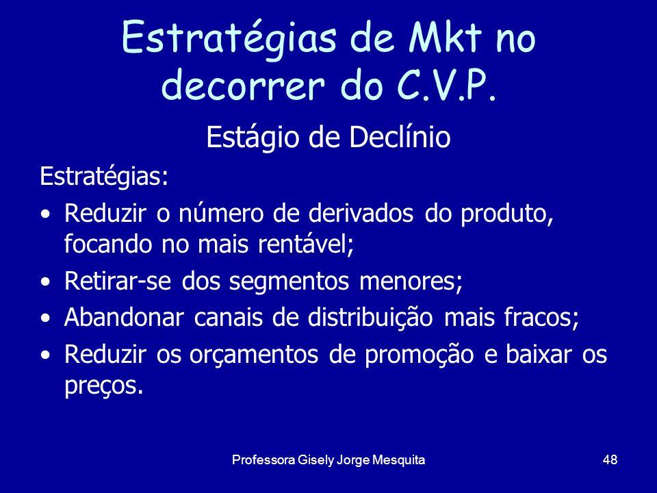 Estratégias de Mkt no decorrer do C.V.P. Estágio de Declínio Estratégias: Reduzir o número de derivados do produto, focando no mais rentável; Retirar-