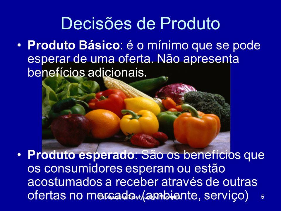 Decisões de produto Fatores que interferem na marca: História; Comunicação Concorrência Consumidor; Mercado; Distribuição; Embalagem; Nome; Fabricante; Produto/Forma 16Professora Gisely Jorge Mesquita