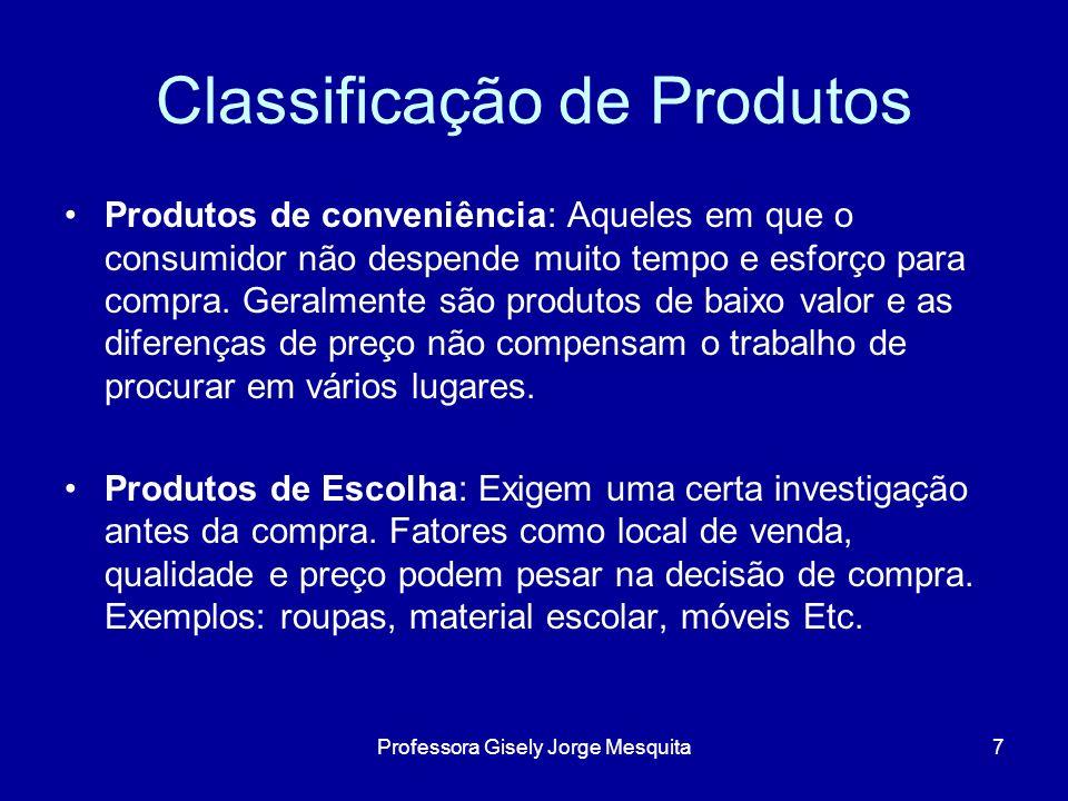Classificação de Produtos Produtos de conveniência: Aqueles em que o consumidor não despende muito tempo e esforço para compra. Geralmente são produto