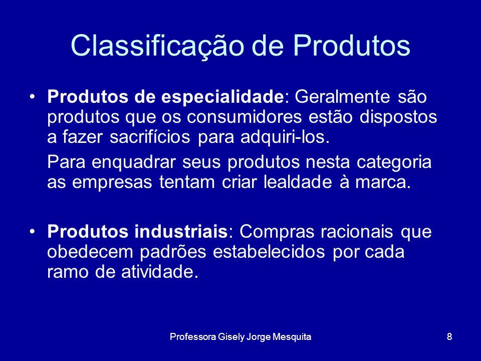 Diferenciação de Produtos Variedade de parâmetros: Forma Características Desempenho Durabilidade Conformidade Confiabilidade Facilidade de reparo Estilo Design 9Professora Gisely Jorge Mesquita