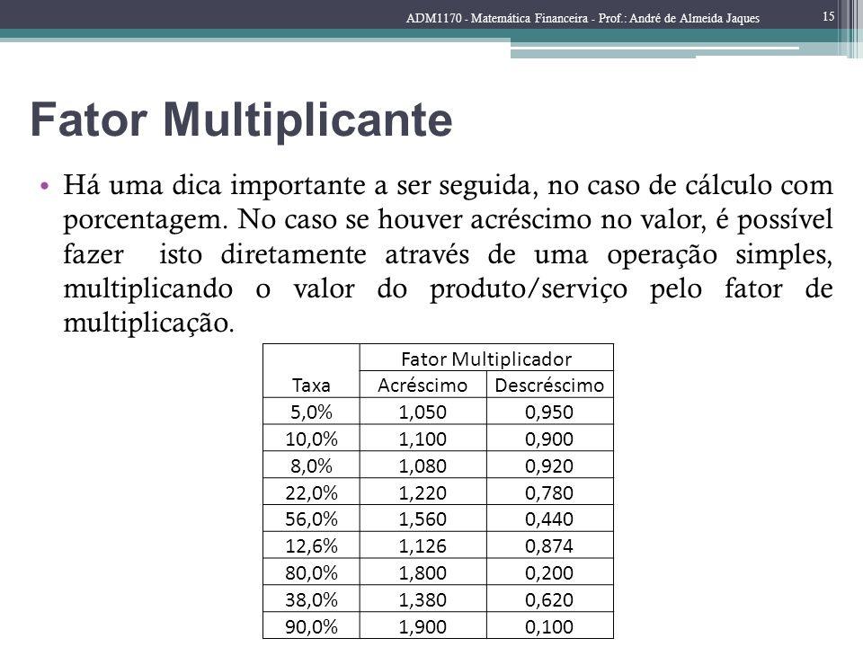 Fator Multiplicante Há uma dica importante a ser seguida, no caso de cálculo com porcentagem. No caso se houver acréscimo no valor, é possível fazer i