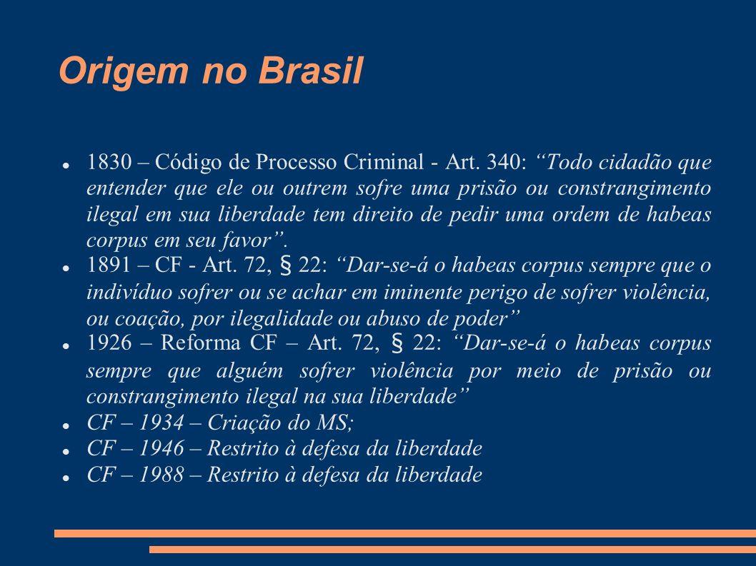 Origem no Brasil 1830 – Código de Processo Criminal - Art. 340: Todo cidadão que entender que ele ou outrem sofre uma prisão ou constrangimento ilegal