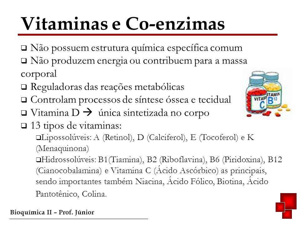 Bioquímica II – Prof. Júnior Vitaminas e Co-enzimas Não possuem estrutura química específica comum Não produzem energia ou contribuem para a massa cor