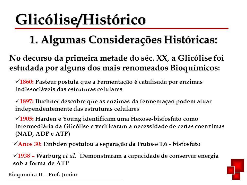 Bioquímica II – Prof. Júnior Glicólise/Histórico Glicólise/Histórico 1. Algumas Considerações Históricas: No decurso da primeira metade do séc. XX, a
