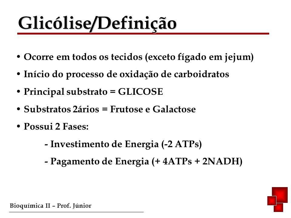 Bioquímica II – Prof. Júnior Ocorre em todos os tecidos (exceto fígado em jejum) Início do processo de oxidação de carboidratos Principal substrato =