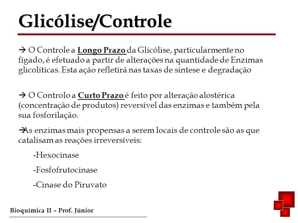 Bioquímica II – Prof. Júnior Longo Prazo O Controle a Longo Prazo da Glicólise, particularmente no fígado, é efetuado a partir de alterações na quanti