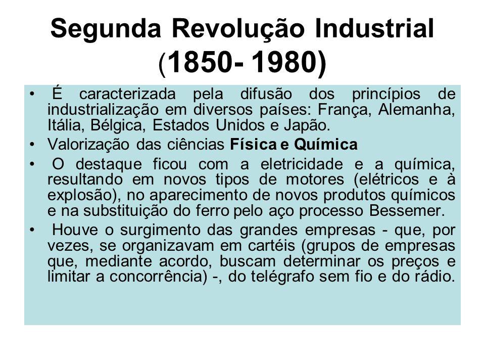 Segunda Revolução Industrial ( 1850- 1980) É caracterizada pela difusão dos princípios de industrialização em diversos países: França, Alemanha, Itáli