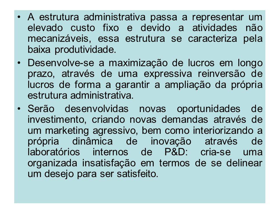 A estrutura administrativa passa a representar um elevado custo fixo e devido a atividades não mecanizáveis, essa estrutura se caracteriza pela baixa