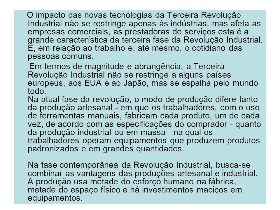 O impacto das novas tecnologias da Terceira Revolução Industrial não se restringe apenas às indústrias, mas afeta as empresas comerciais, as prestador