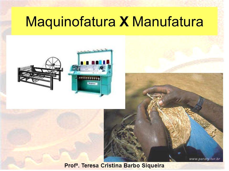 Maquinofatura X Manufatura Profª. Teresa Cristina Barbo Siqueira