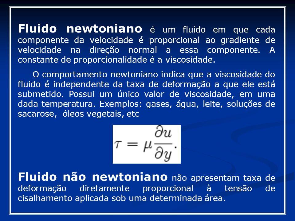 Fluido newtoniano é um fluido em que cada componente da velocidade é proporcional ao gradiente de velocidade na direção normal a essa componente. A co