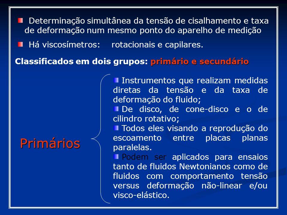primário e secundário Classificados em dois grupos: primário e secundário Determinação simultânea da tensão de cisalhamento e taxa de deformação num m