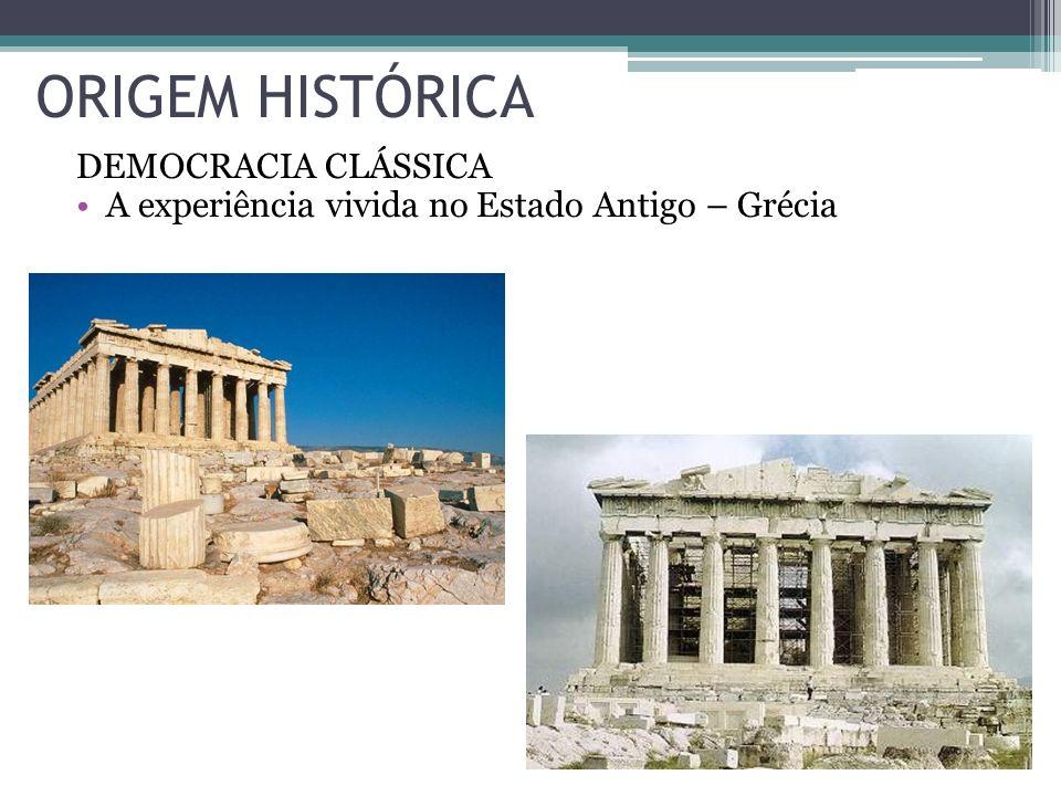 ORIGEM HISTÓRICA DEMOCRACIA CLÁSSICA A experiência vivida no Estado Antigo – Grécia
