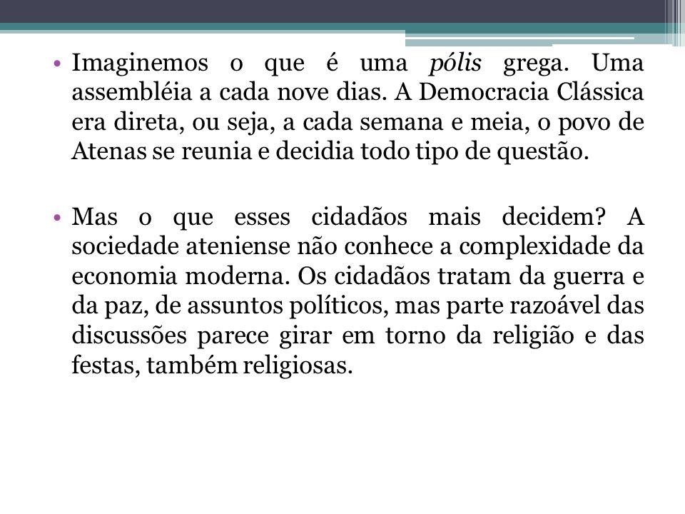 Quem participava efetivamente da vida democrática da cidade de Atenas.