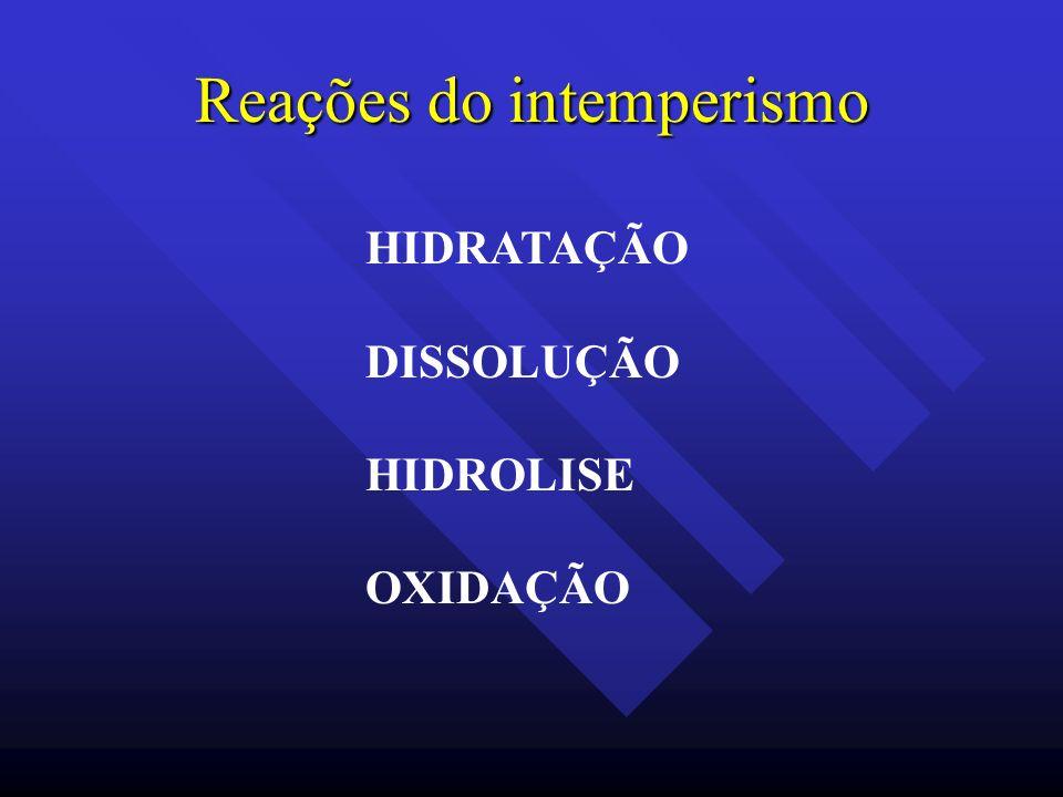 Reações do intemperismo HIDRATAÇÃO DISSOLUÇÃO HIDROLISE OXIDAÇÃO