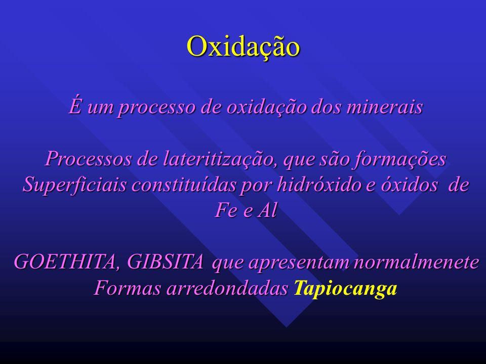 Oxidação É um processo de oxidação dos minerais Processos de lateritização, que são formações Superficiais constituídas por hidróxido e óxidos de Fe e