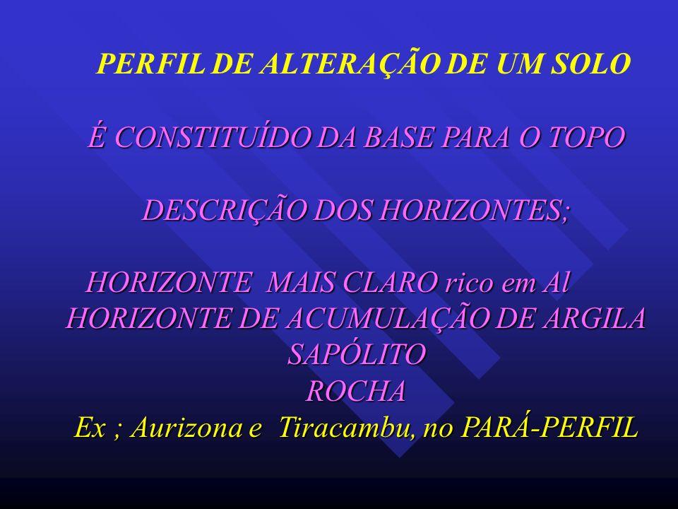 PERFIL DE ALTERAÇÃO DE UM SOLO É CONSTITUÍDO DA BASE PARA O TOPO DESCRIÇÃO DOS HORIZONTES; HORIZONTE MAIS CLARO rico em Al HORIZONTE DE ACUMULAÇÃO DE