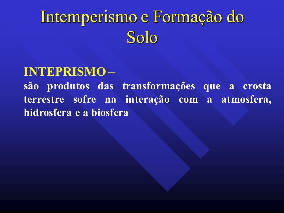 Intemperismo e Formação do Solo INTEPRISMO – são produtos das transformações que a crosta terrestre sofre na interação com a atmosfera, hidrosfera e a