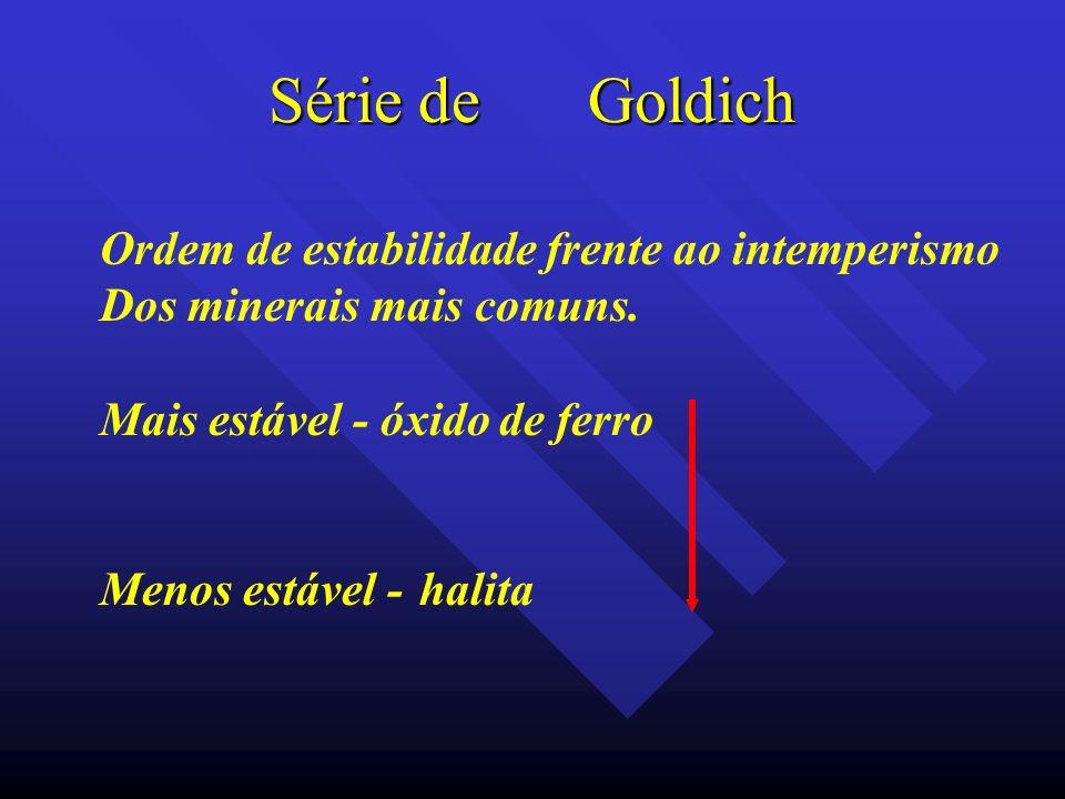 Série de Goldich Ordem de estabilidade frente ao intemperismo Dos minerais mais comuns. Mais estável - óxido de ferro Menos estável - halita