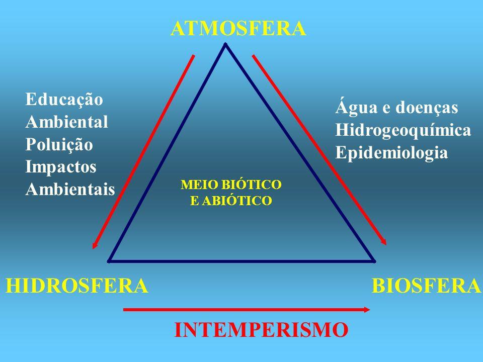 ATMOSFERA HIDROSFERABIOSFERA MEIO BIÓTICO E ABIÓTICO Educação Ambiental Poluição Impactos Ambientais Água e doenças Hidrogeoquímica Epidemiologia INTE