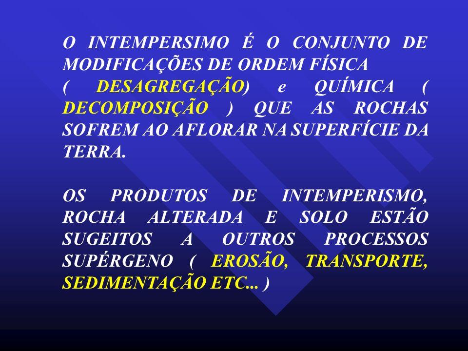 O INTEMPERSIMO É O CONJUNTO DE MODIFICAÇÕES DE ORDEM FÍSICA ( DESAGREGAÇÃO) e QUÍMICA ( DECOMPOSIÇÃO ) QUE AS ROCHAS SOFREM AO AFLORAR NA SUPERFÍCIE D