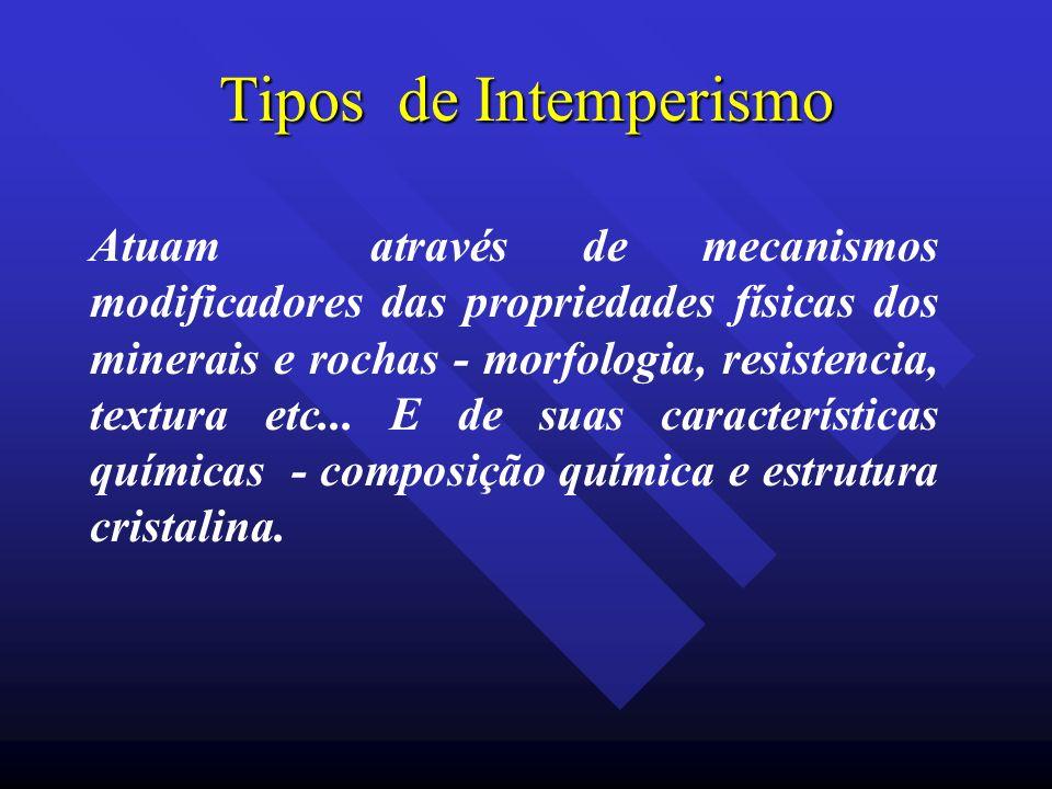 Tipos de Intemperismo Atuam através de mecanismos modificadores das propriedades físicas dos minerais e rochas - morfologia, resistencia, textura etc.