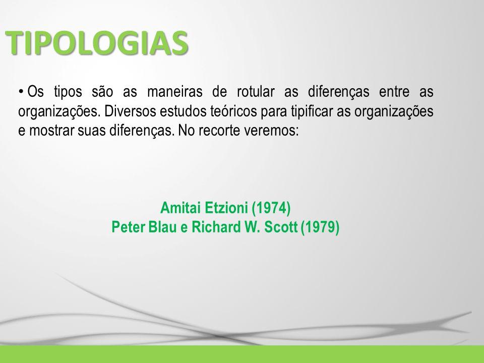 TIPOLOGIAS Os tipos são as maneiras de rotular as diferenças entre as organizações. Diversos estudos teóricos para tipificar as organizações e mostrar