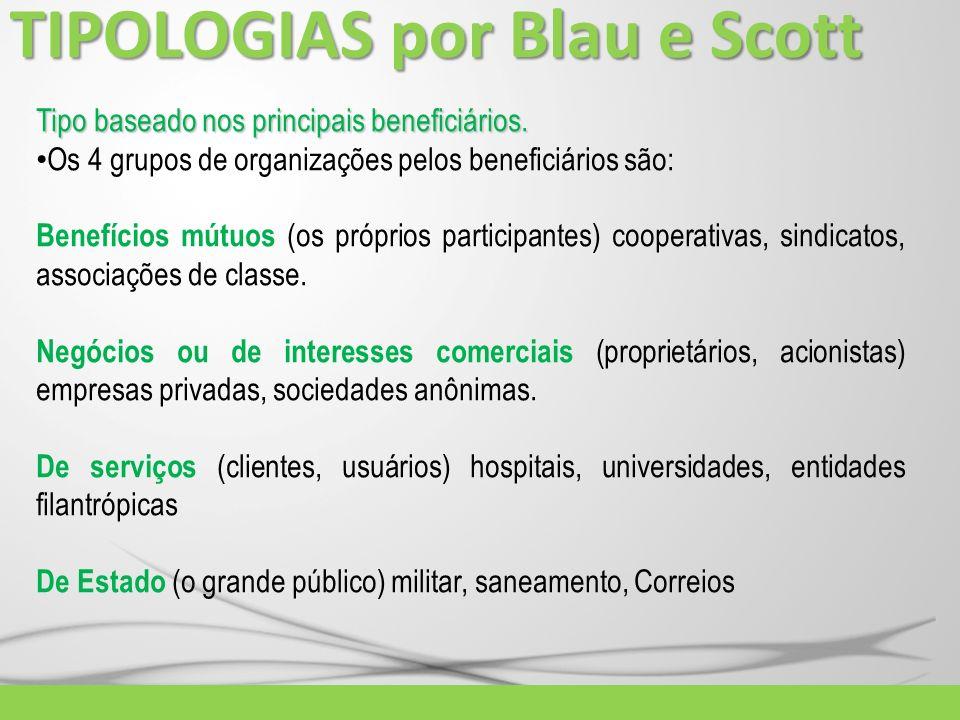 TIPOLOGIAS por Blau e Scott Tipo baseado nos principais beneficiários. Os 4 grupos de organizações pelos beneficiários são: Benefícios mútuos (os próp