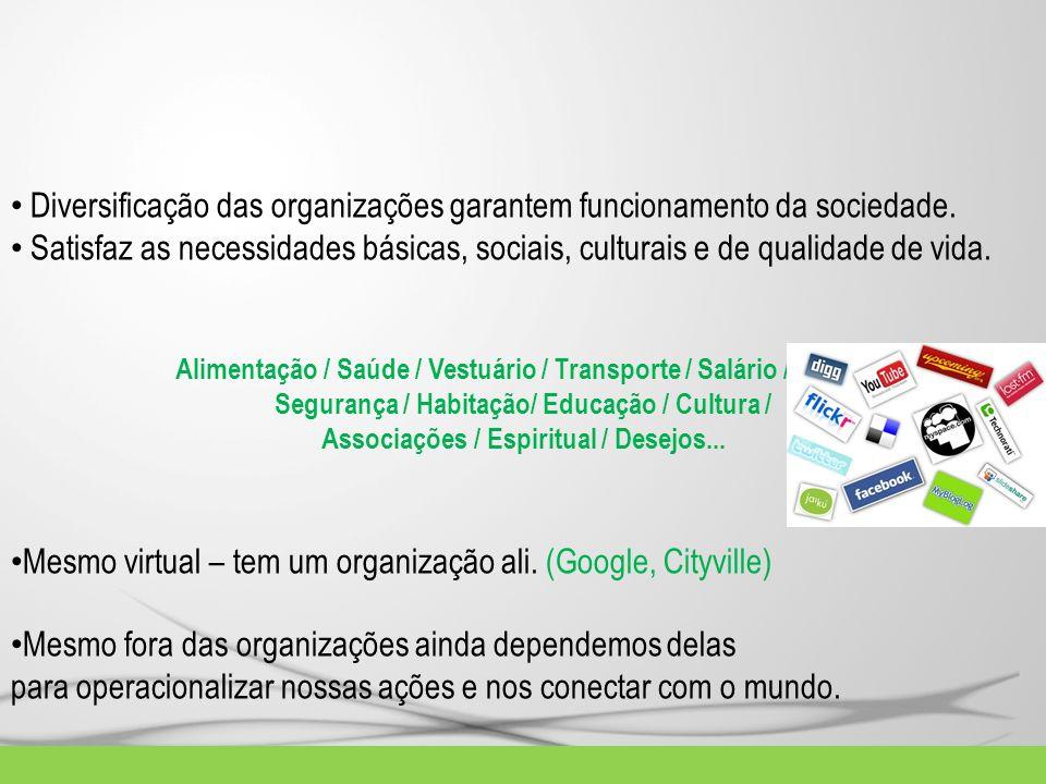 Diversificação das organizações garantem funcionamento da sociedade. Satisfaz as necessidades básicas, sociais, culturais e de qualidade de vida. Alim