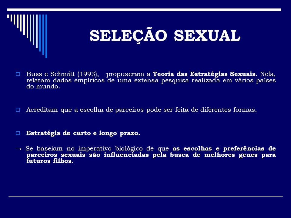 Buss e Schmitt (1993), propuseram a Teoria das Estratégias Sexuais. Nela, relatam dados empíricos de uma extensa pesquisa realizada em vários países d