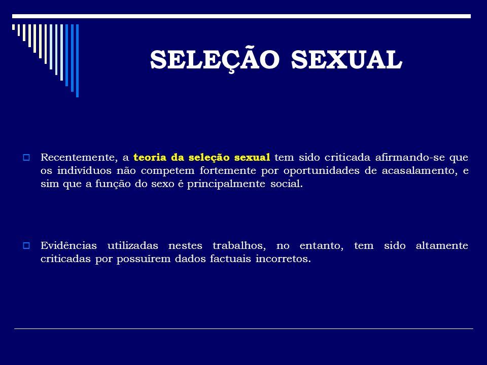 Recentemente, a teoria da seleção sexual tem sido criticada afirmando-se que os indivíduos não competem fortemente por oportunidades de acasalamento,