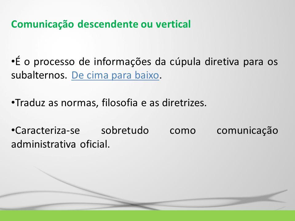 Comunicação descendente ou vertical É o processo de informações da cúpula diretiva para os subalternos. De cima para baixo. Traduz as normas, filosofi