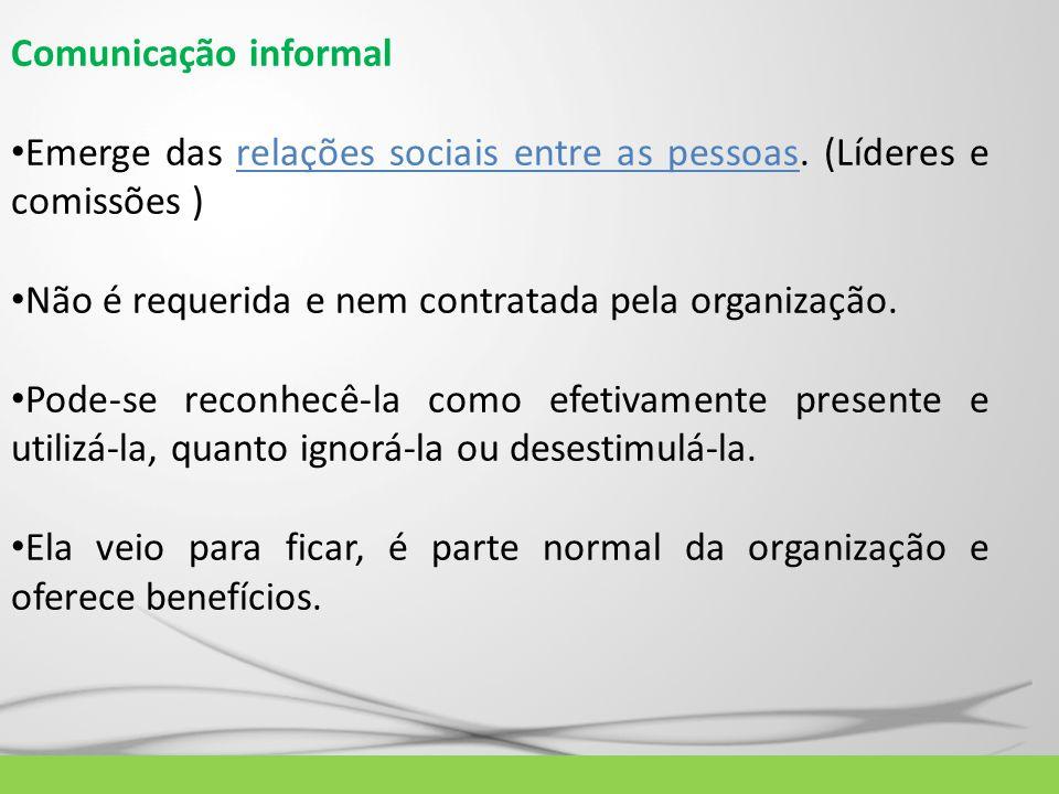 Comunicação informal Emerge das relações sociais entre as pessoas. (Líderes e comissões ) Não é requerida e nem contratada pela organização. Pode-se r