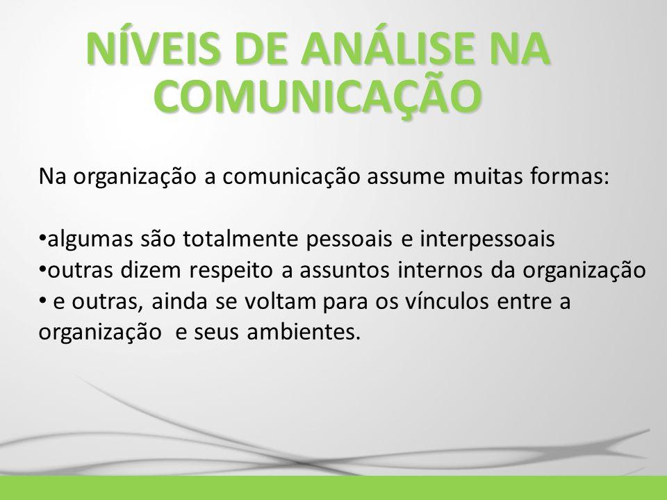 NÍVEIS DE ANÁLISE NA COMUNICAÇÃO Na organização a comunicação assume muitas formas: algumas são totalmente pessoais e interpessoais outras dizem respe