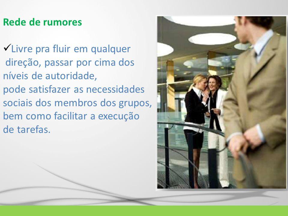 Rede de rumores Livre pra fluir em qualquer direção, passar por cima dos níveis de autoridade, pode satisfazer as necessidades sociais dos membros dos