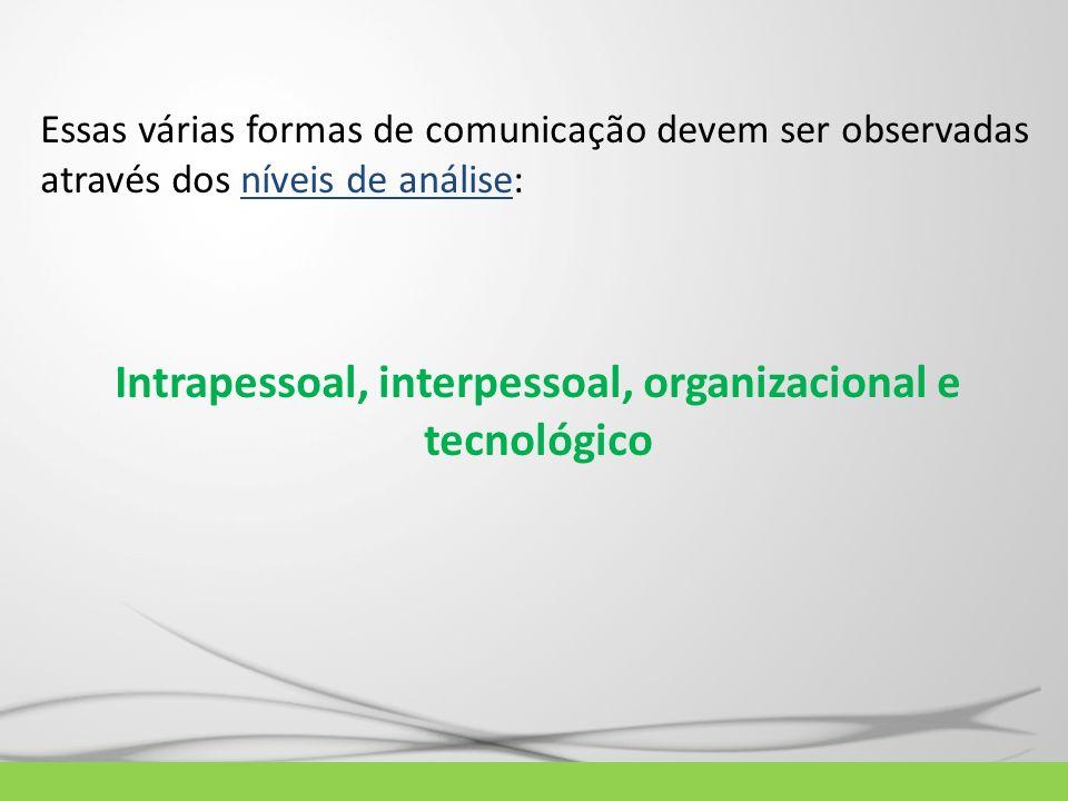Essas várias formas de comunicação devem ser observadas através dos níveis de análise: Intrapessoal, interpessoal, organizacional e tecnológico