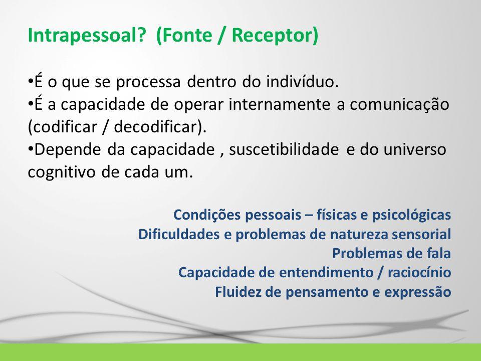 Intrapessoal? (Fonte / Receptor) É o que se processa dentro do indivíduo. É a capacidade de operar internamente a comunicação (codificar / decodificar