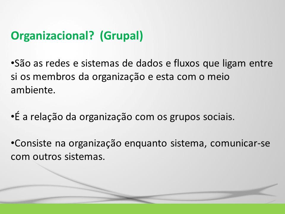Organizacional? (Grupal) São as redes e sistemas de dados e fluxos que ligam entre si os membros da organização e esta com o meio ambiente. É a relaçã