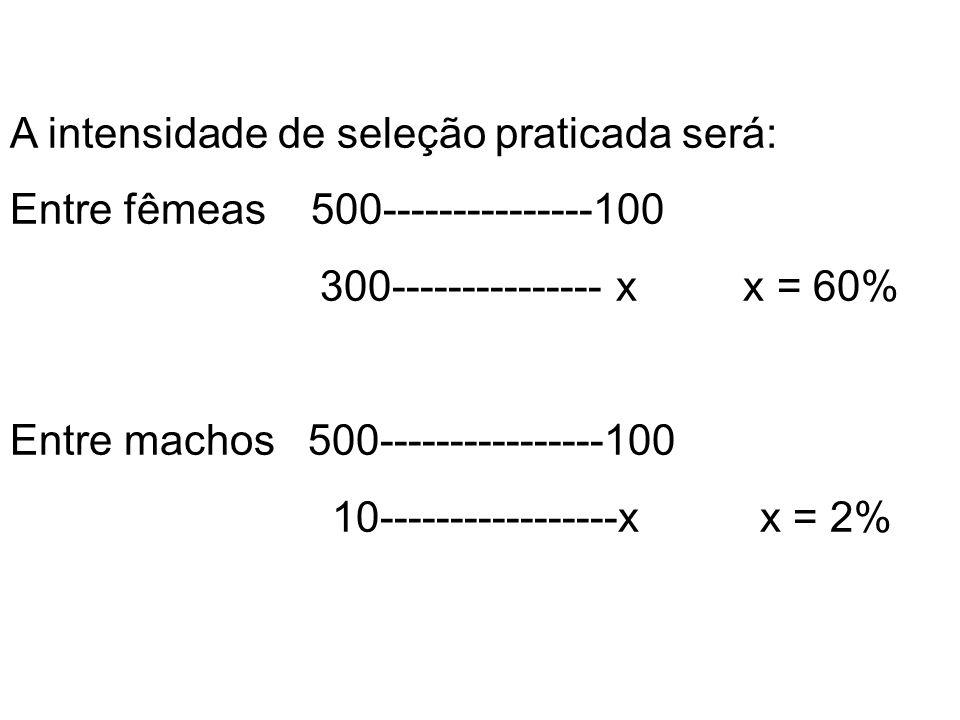 A intensidade de seleção praticada será: Entre fêmeas 500---------------100 300--------------- x x = 60% Entre machos 500----------------100 10-------