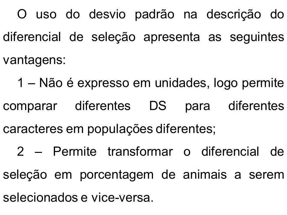 O uso do desvio padrão na descrição do diferencial de seleção apresenta as seguintes vantagens: 1 – Não é expresso em unidades, logo permite comparar