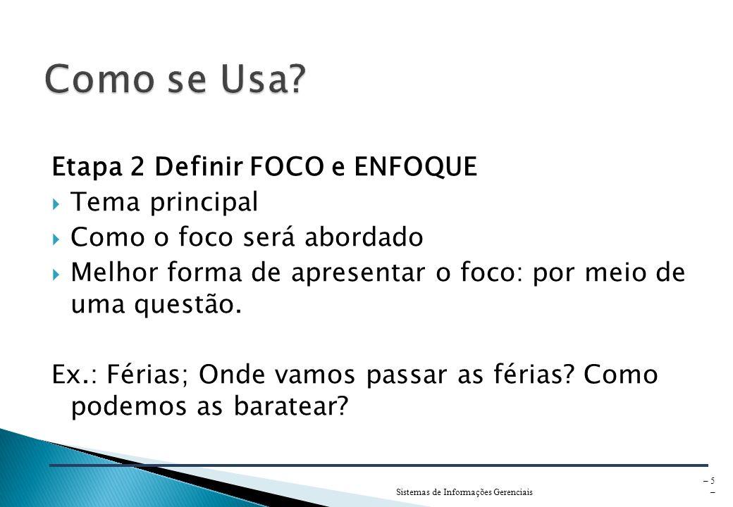 Sistemas de Informações Gerenciais – 5 – Etapa 2 Definir FOCO e ENFOQUE Tema principal Como o foco será abordado Melhor forma de apresentar o foco: por meio de uma questão.