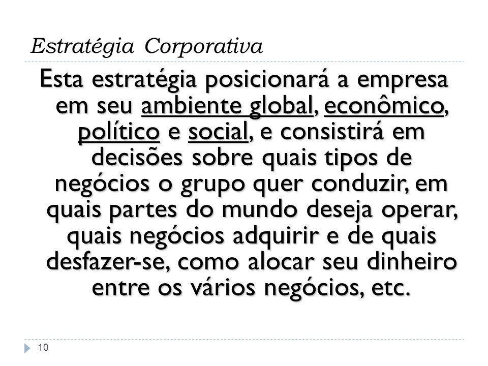 Estratégia Corporativa 10 Esta estratégia posicionará a empresa em seu ambiente global, econômico, político e social, e consistirá em decisões sobre q