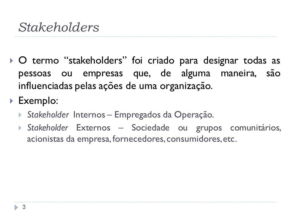 Stakeholders 3 O termo stakeholders foi criado para designar todas as pessoas ou empresas que, de alguma maneira, são influenciadas pelas ações de uma