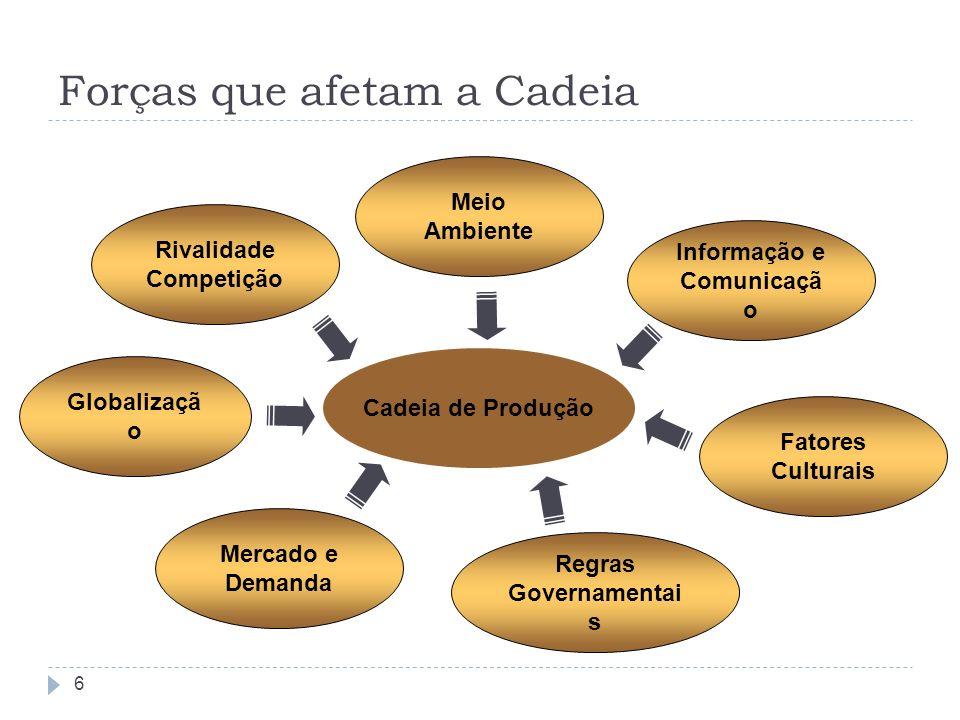 Forças que afetam a Cadeia 6 Cadeia de Produção Informação e Comunicaçã o Fatores Culturais Regras Governamentai s Meio Ambiente Rivalidade Competição