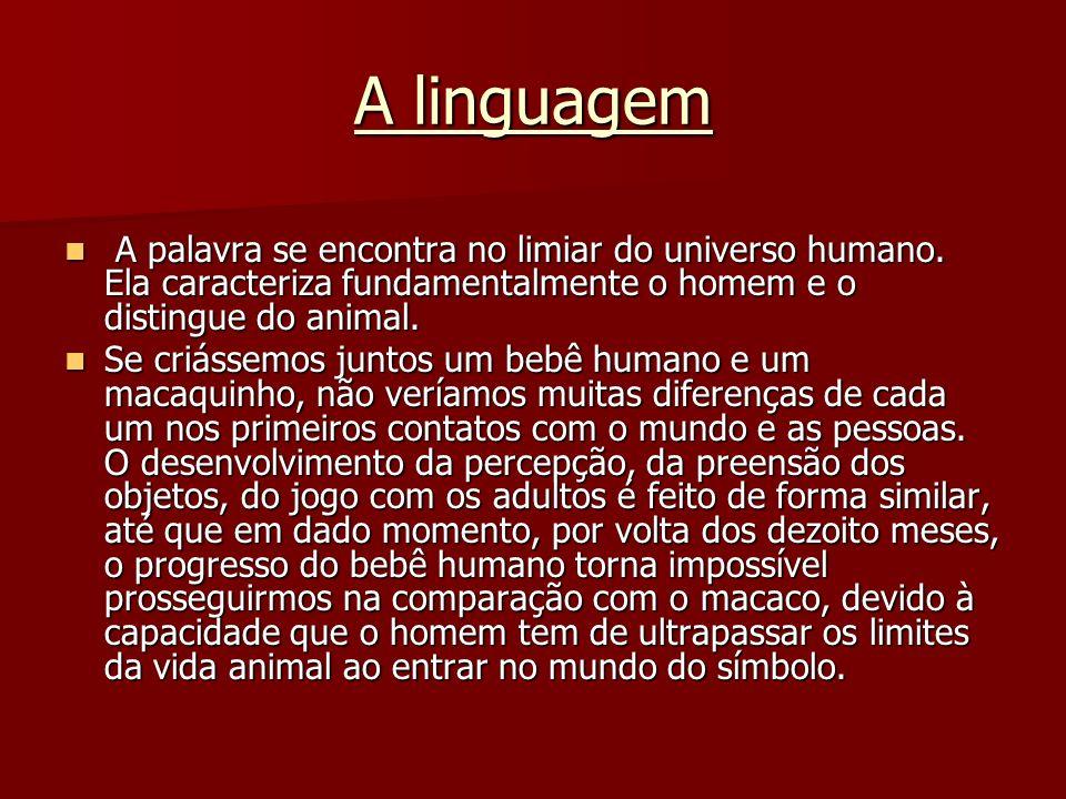 A linguagem A palavra se encontra no limiar do universo humano. Ela caracteriza fundamentalmente o homem e o distingue do animal. A palavra se encontr