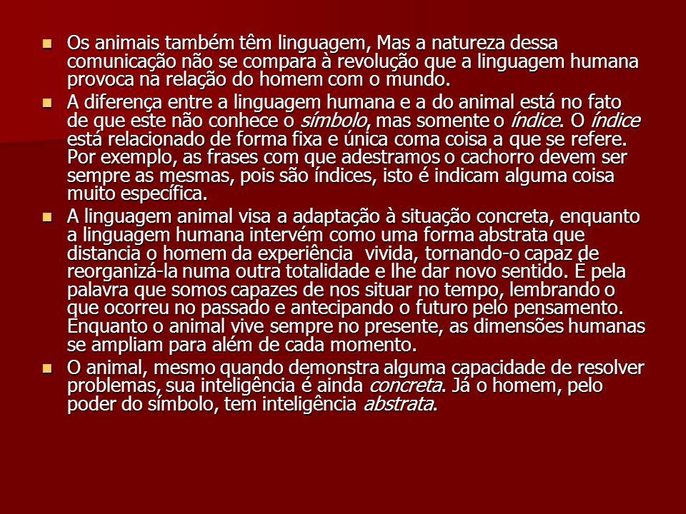 Os animais também têm linguagem, Mas a natureza dessa comunicação não se compara à revolução que a linguagem humana provoca na relação do homem com o