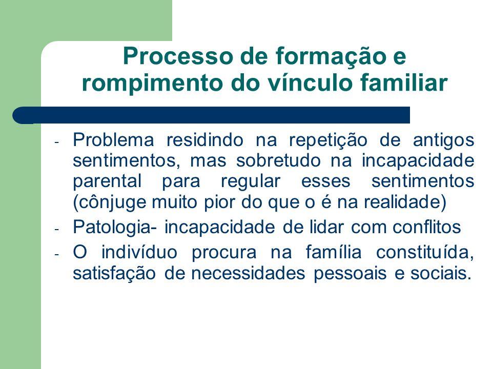 Processo de formação e rompimento do vínculo familiar - Problema residindo na repetição de antigos sentimentos, mas sobretudo na incapacidade parental
