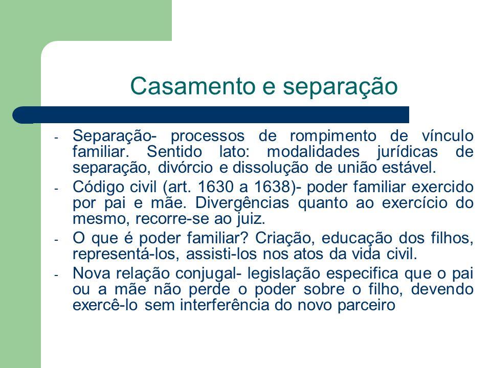 Casamento e separação - Separação- processos de rompimento de vínculo familiar. Sentido lato: modalidades jurídicas de separação, divórcio e dissoluçã