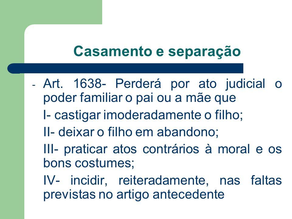 - Art. 1638- Perderá por ato judicial o poder familiar o pai ou a mãe que I- castigar imoderadamente o filho; II- deixar o filho em abandono; III- pra